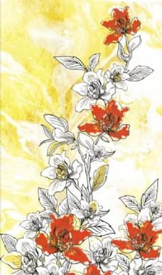 素描色彩花