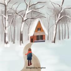 手画冬天森林背景