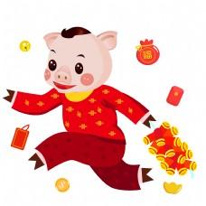 猪跑红裙红裙子