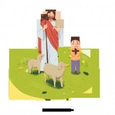 可爱的耶稣拿着羊和儿童手绘插图