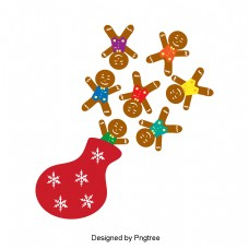 圣诞姜饼和棕色平放在袋子里