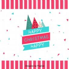 粉色条纹圣诞树的简单背景