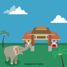 泰国椰子树建筑的大象