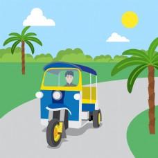 卡通泰国观光巴士