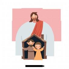 手绘插图耶稣的拥抱