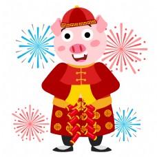 猪系列红色鞭炮中国农历新年