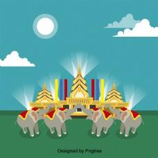 卡通泰国大象建筑
