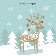 冷色和可爱的圣诞鹿