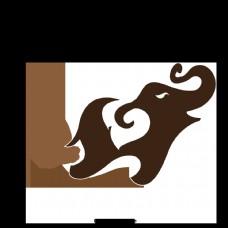 大象棕色水彩棕褐色