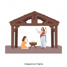 耶稣的手绘插图为宝宝祈祷