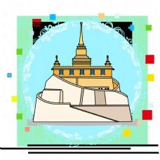 卡通泰国寺庙建筑
