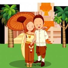 夫妻结婚穿婚纱泰国茉莉