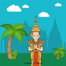 泰国这个宏伟的宫殿椰树