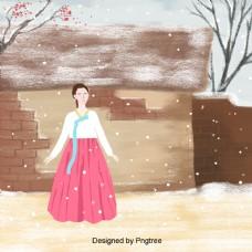 韩国女孩享受冬天的雪景的背景