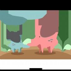 大象粉色蓝色棕色海滩散步