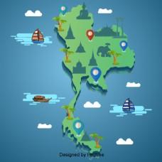 泰国地图景点绿色