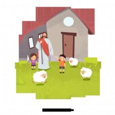 可爱的手绘耶稣和两个孩子养羊为生