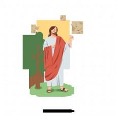 手绘插图的耶稣和白色的鸽子