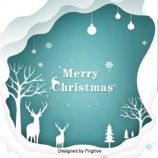 绿皮书森林类型圣诞节的圣诞海报