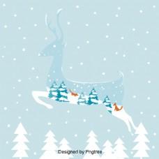 冬天驼鹿圣诞庆祝活动说明背景