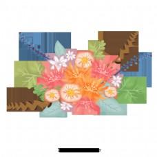 元素的设计丰富多彩的盛开的鲜花