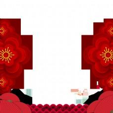 红色花剪纸传统边界边界