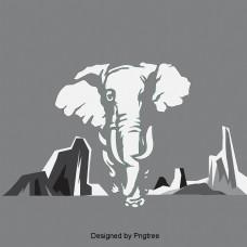 黑色和白色影子大象走路