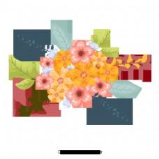 简单的黄色手绘小花元素
