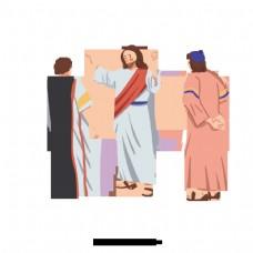 耶稣的手绘插图和人民传教士