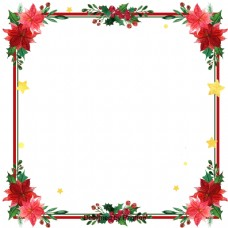 复古的圣诞红花边境
