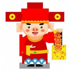 金猪戴着帽子穿着红裙子介绍点中国新年