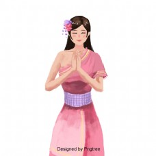 手绘传统的泰国女人