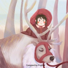 女孩在冬天森林背景插图漫画和插图