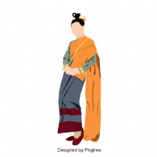 女人穿泰国坐布裙的灰色橙色戴着黄金