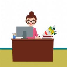 老师鲜花电脑桌子棕色的