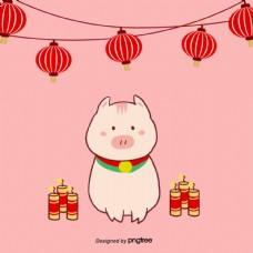 粉红猪的灯笼鞭炮背景粉红色
