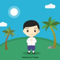 卡通男性角色椰子树