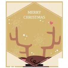 黄金矩形驼鹿圣诞新年背景