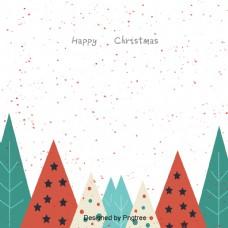 一个简单的圣诞树圣诞雪花落在背景