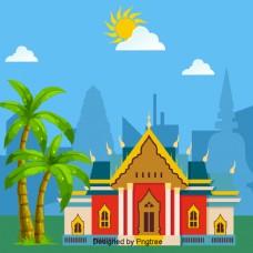 泰国建筑大理石庙宇