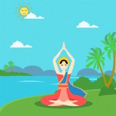 泰国河畔瑜伽