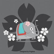 大象花白色背景图像花灰色的