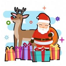 圣诞鹿棕色的礼物盒