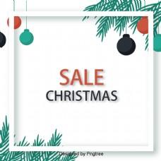 绿色圣诞装饰品促销海报的背景