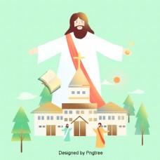 耶稣和平坦的插图背景材料