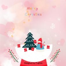 可爱的粉色背景爱雪花圣诞雪人音乐盒