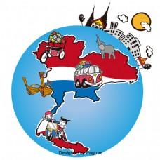 泰国手绘地图景点