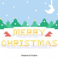 矢量平面圣诞复古的像素圣诞快乐说明背景