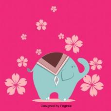 蓝色大象粉红色花背景颜色看珠宝的笑容