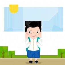 儿童学生泰国衬衫长脚